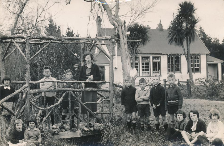 Fairton Primary School teacher Molly Morrison and students in 1929 when the school was located at...