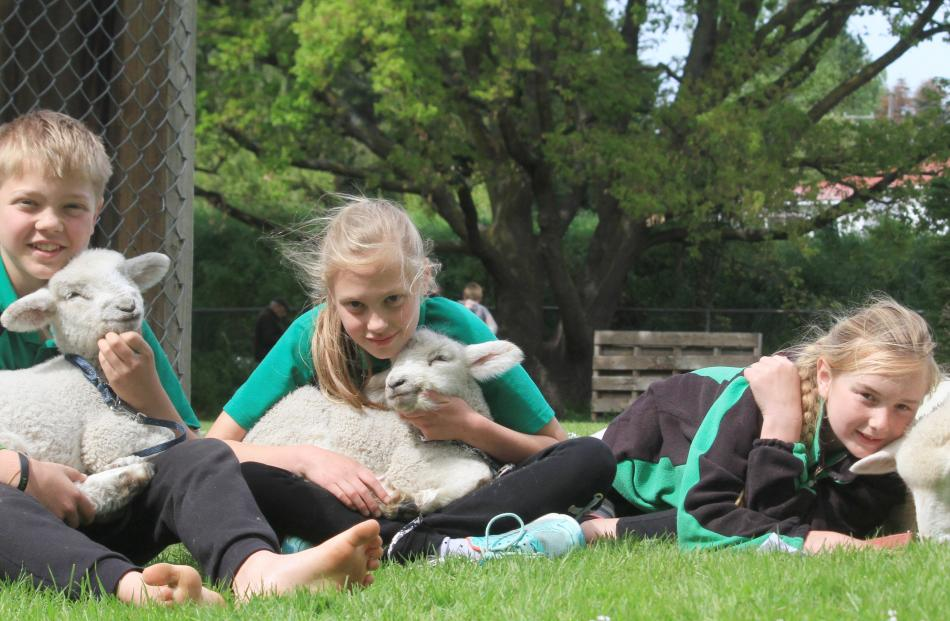 Carlo Badenhorst (12), with Snow White, Marieke Badenhorst (10), with Fred, and Danielle...