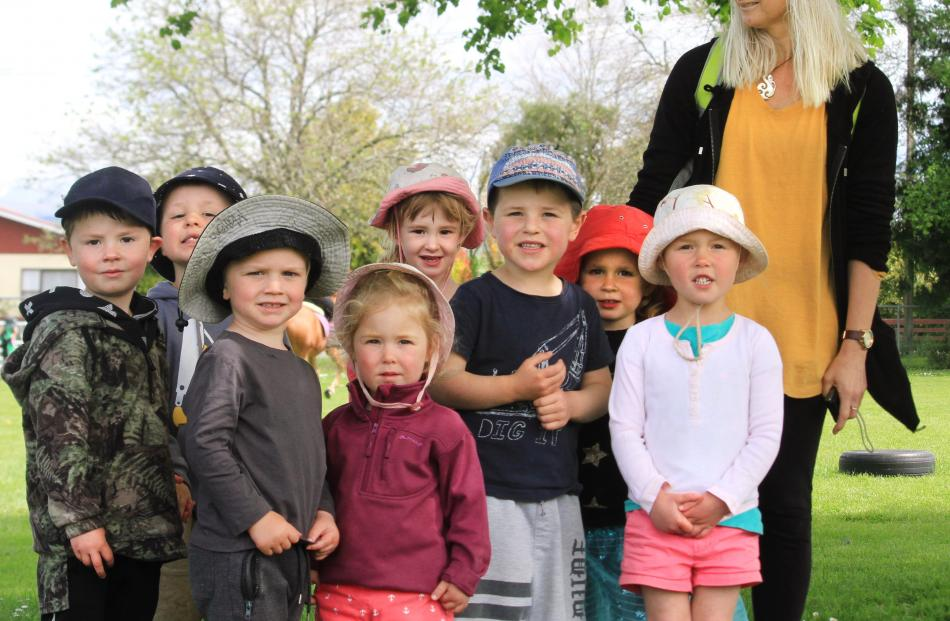 Maheno Kindergarten pupils Bo Halkett (3), Sullivan Robb (4), Jack McCone (3), Abby Thelning (2),...