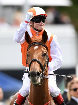 Craig Williams celebrates after riding Vow And Declare to win the Melbourne Cup.