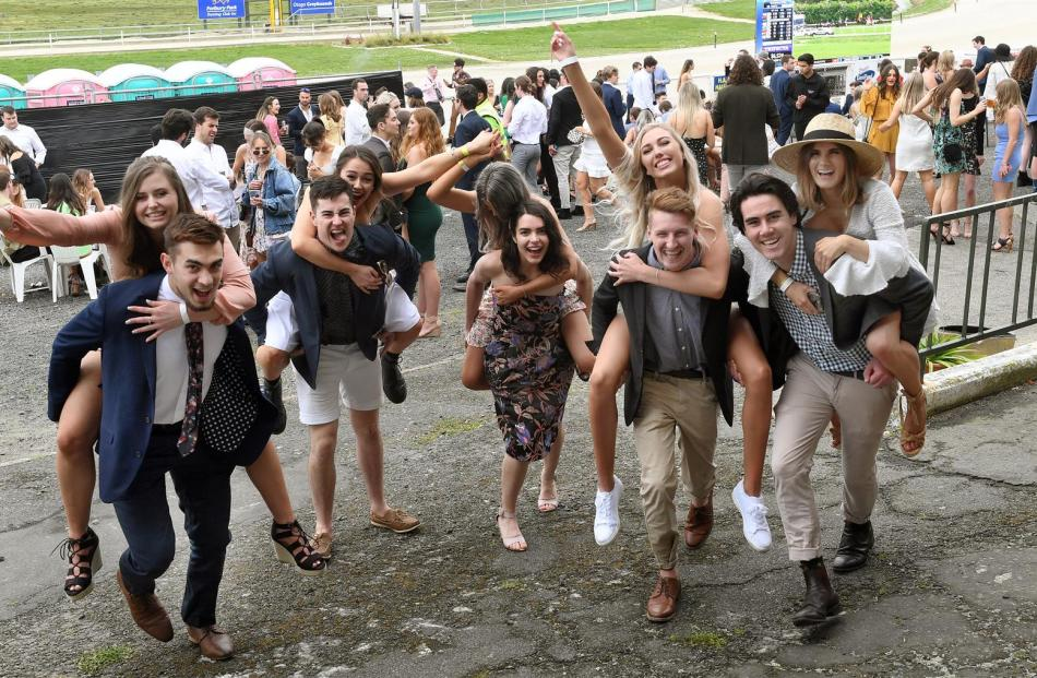 University of Otago students (from left) Jennifer Gordon (20), Jade Zaia (19), Ben Anngow (22),...