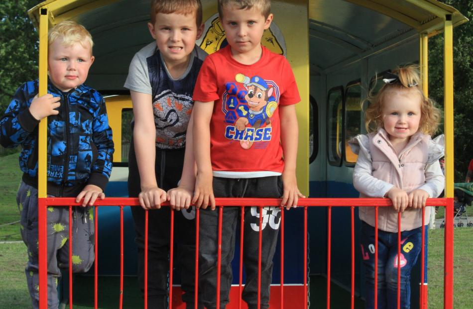 Preston Pamment (3), of Weston, Connor (9) and Cody Bol (6), of Oamaru, and Aubrie Pamment (1),...