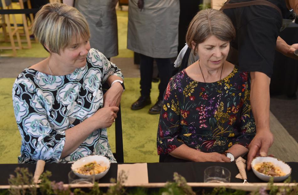 Megan Gibbons (left) and Caroline Terpstra, both of Dunedin are served Lamb Ragu Pappardelle