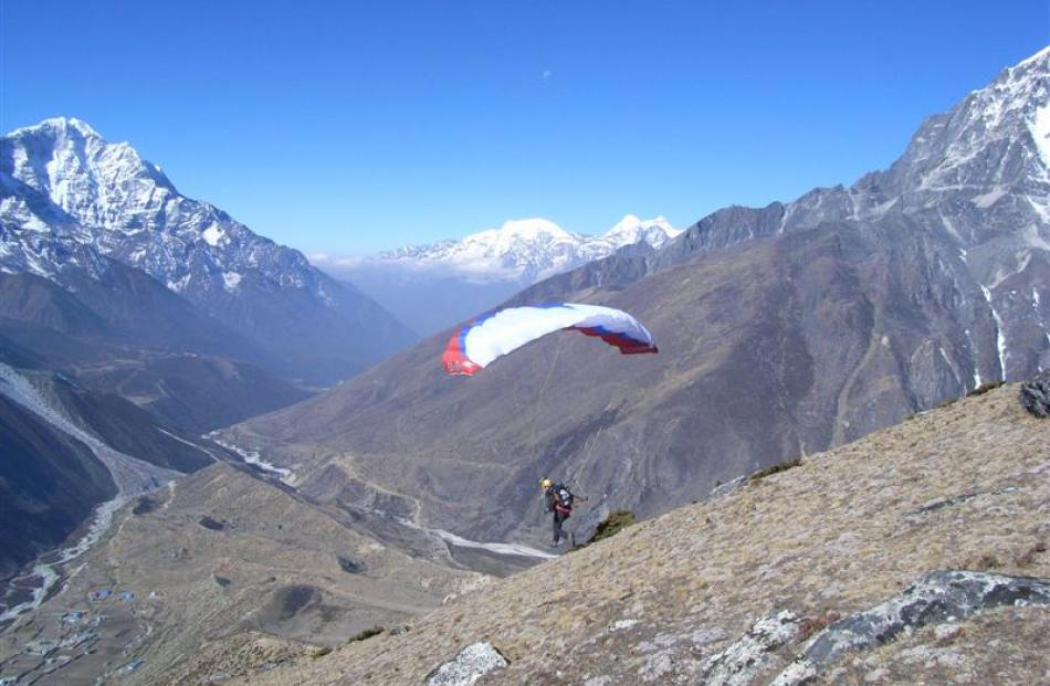 Mr Haskins practices launching a speed wing on Dingboche Ri (5700m) on a recent training trip to...