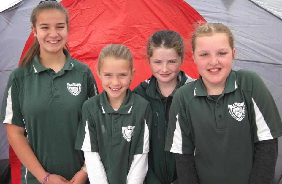 St Thomas Aquinas pupils Lucy Spice (12), Lilly Goodwright (10), Hayley Thorburn (11) and Jessica...
