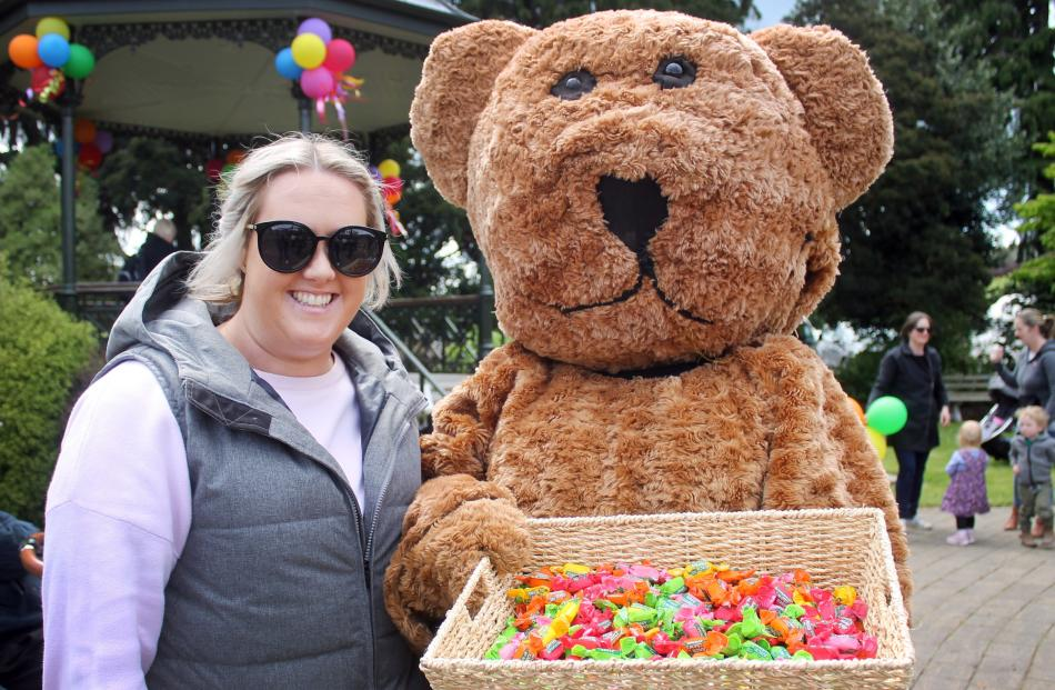 Hannah Dowling and Ted the Bear, both of Winton.