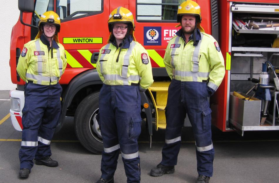 Winton volunteer firefighters Steve Turton, Kimberley Iddles and Rory Saunders, all of Winton.