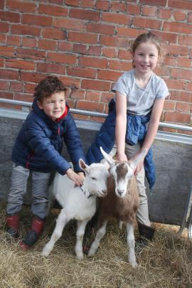 Callum (6) and Nisha Dore (8) with their baby goats Beauden (left) and Ritchie.