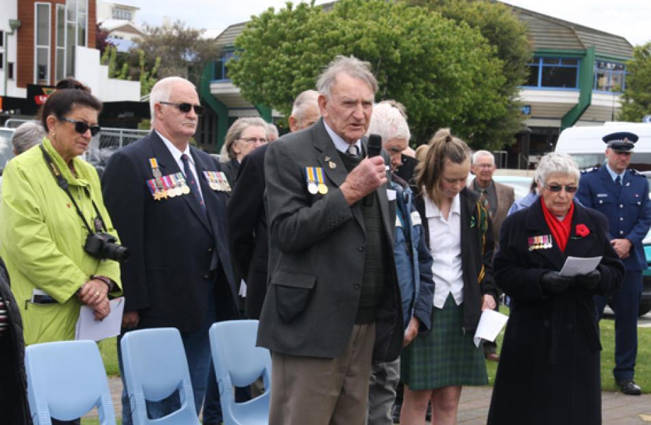 Fiordland RSA member Bob Yates saying the Ode to Remembrance poem. Photo Julie Walls