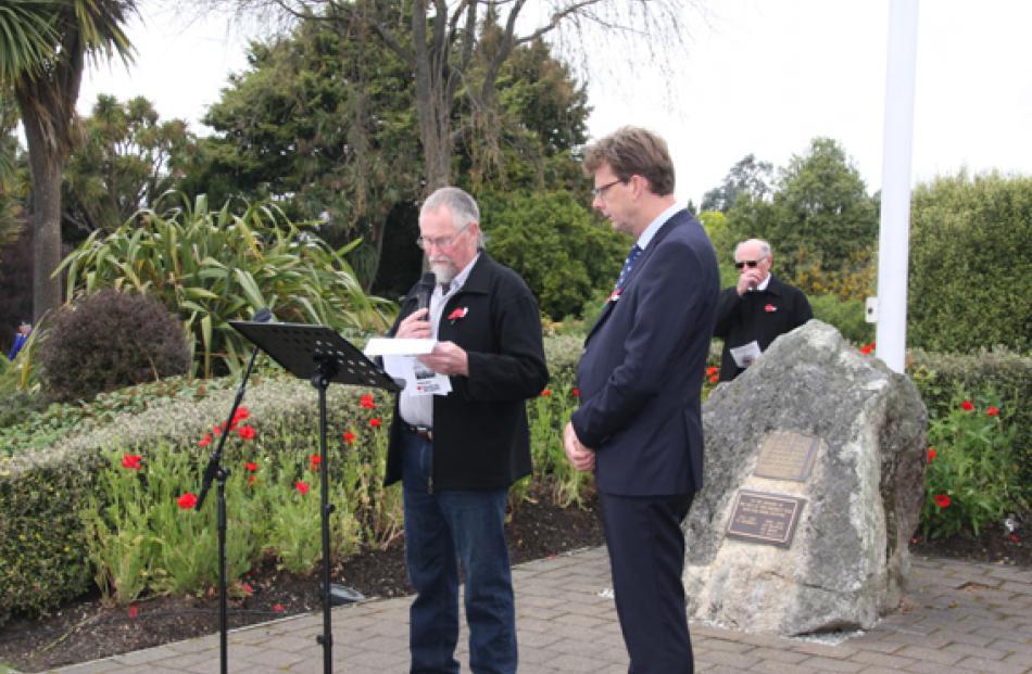 Fiordland RSA President Geoff Trumper and Te Anau Chaplain Rev Craig Allan leading the Armistice...