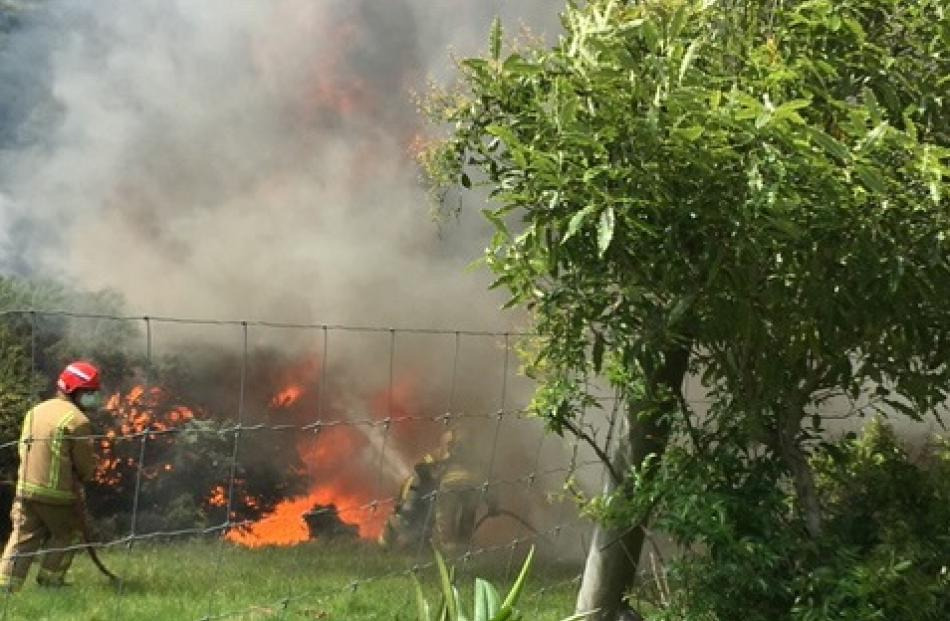 Firefighters tackle the blaze on Scroggs Hill. Photo: Supplied