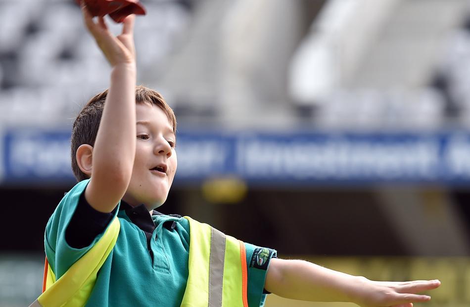 East Taieri School pupil Samuel Lewis (6) takes aim at Percy's Safari Adventure Fun Day at...