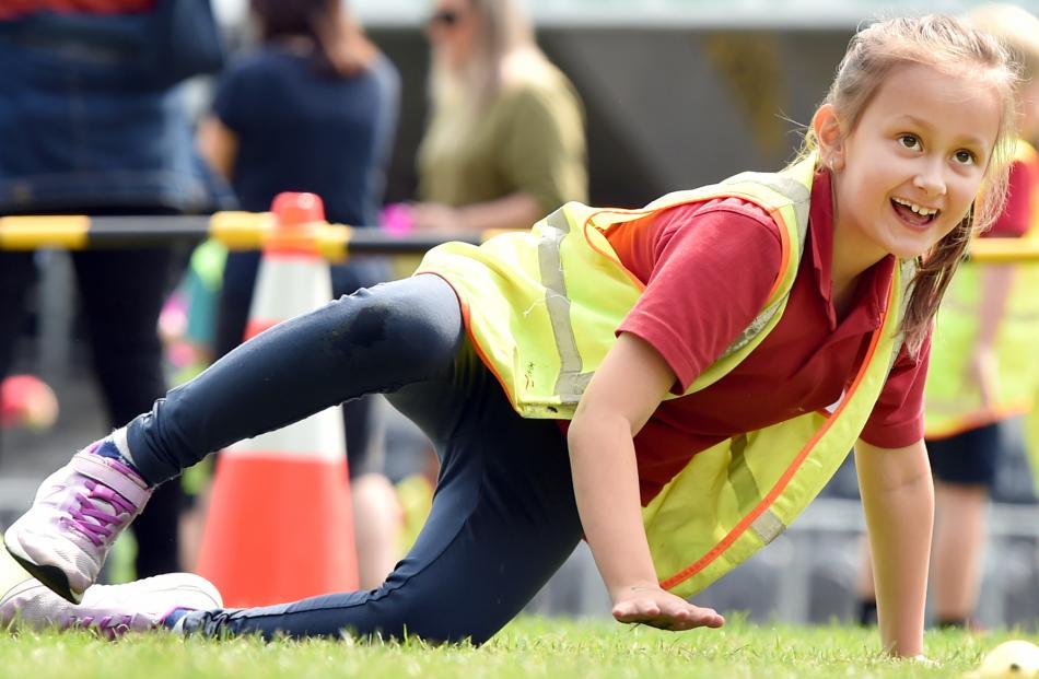 Musselburgh School pupil Alicia Linton (8) gets active.
