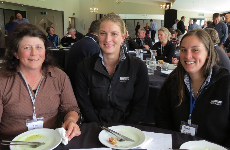 Enjoying the NZARN conference in Gore last Wednesday are (from left) dairy farmer Katy Button, of...
