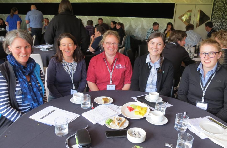 Rural professionals networking during the NZARN conference in Gore last Wednesday are (from left)...