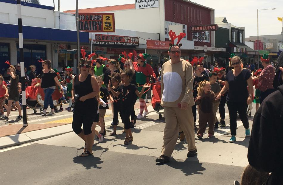 The Kaiapoi Borough School contingent last year featured principal Murray Overton dressed as a...