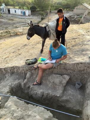 Academic Ladislav Damasek from Charles University in Prague records the archaeological site on...