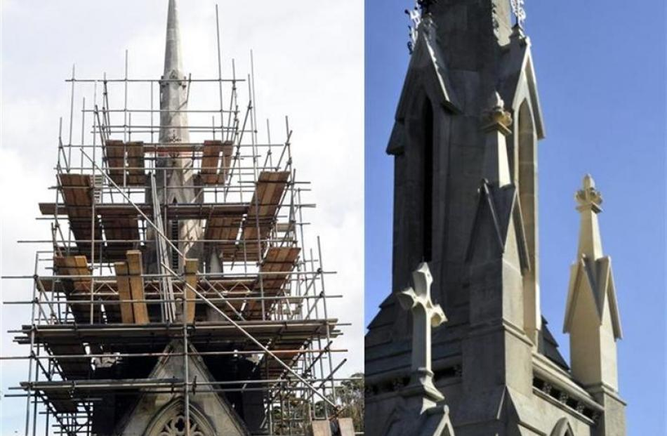 Before and after: (left) Scaffolding surrounds the tomb during the restoration; The restored tower.