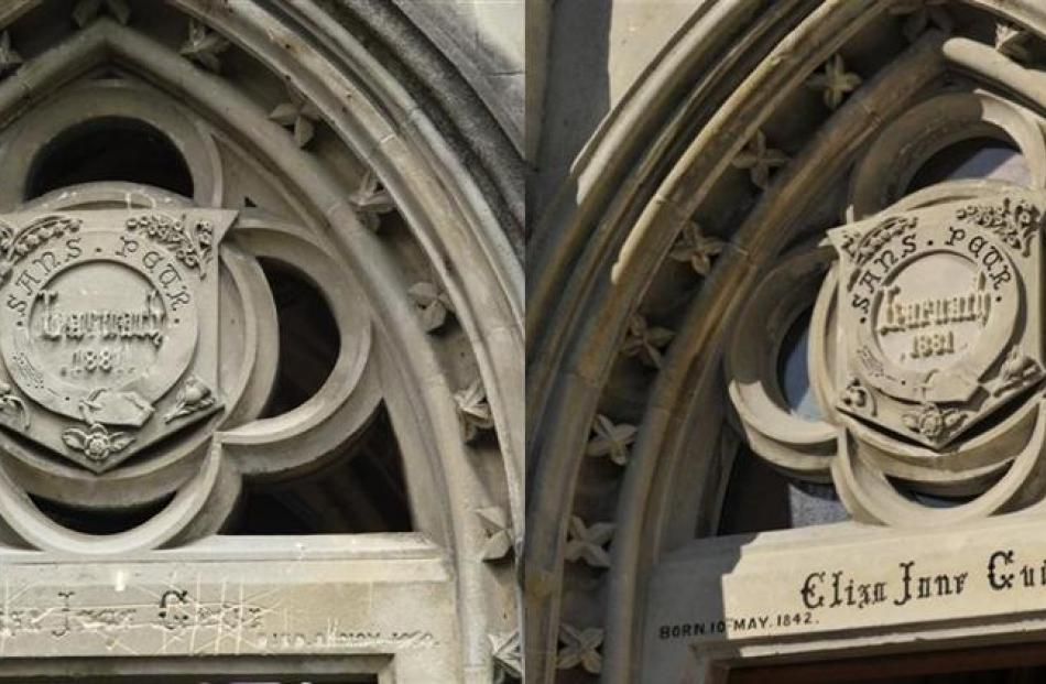Before and after: An inscribed door lintel (left) before and after the work.