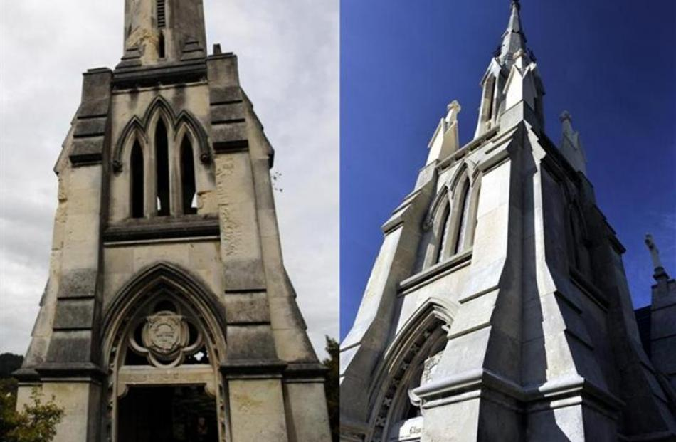 Before and after: The tomb has gone from a grubby, unloved-looking structure (left) to a pristine...