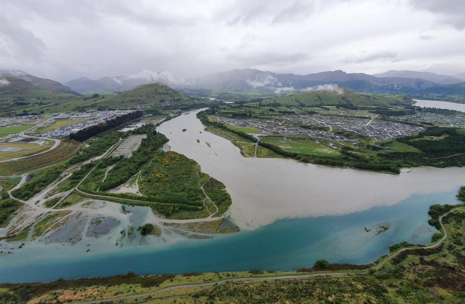 The flooded Shotover River. Photo: ORC