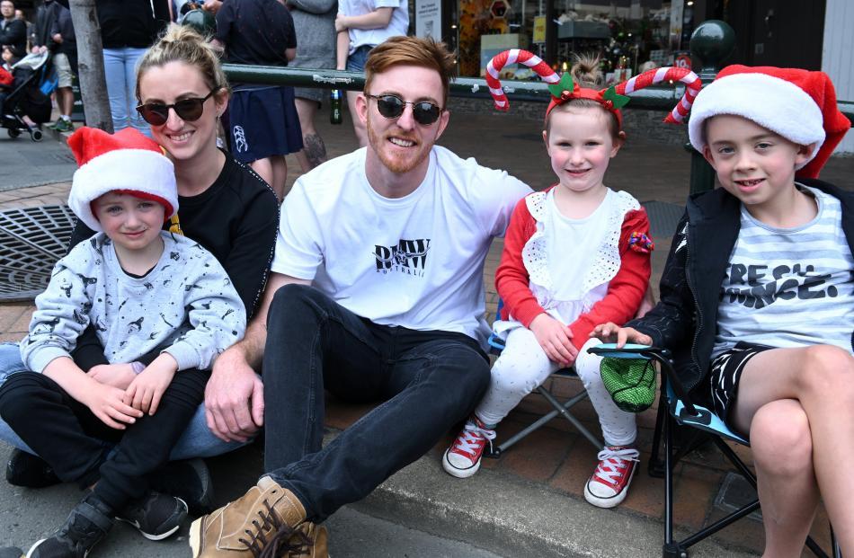 Jasmine Rowe and Ryan Lee, of Dunedin, and their children Jordan Richardson (5), Kendall Lee (4)...