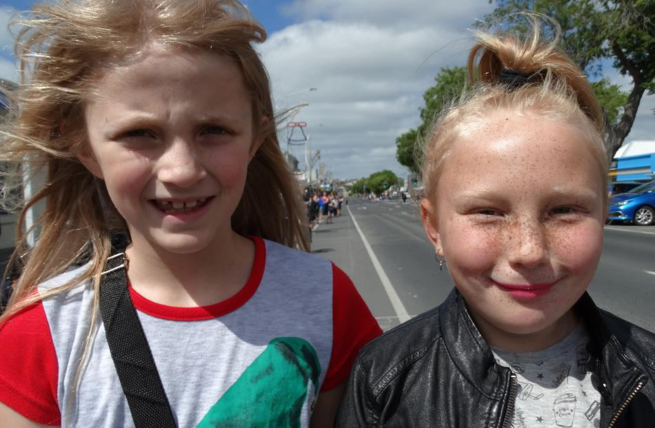 Katie McLay and Adelaide Stenning (both 9), of Oamaru.