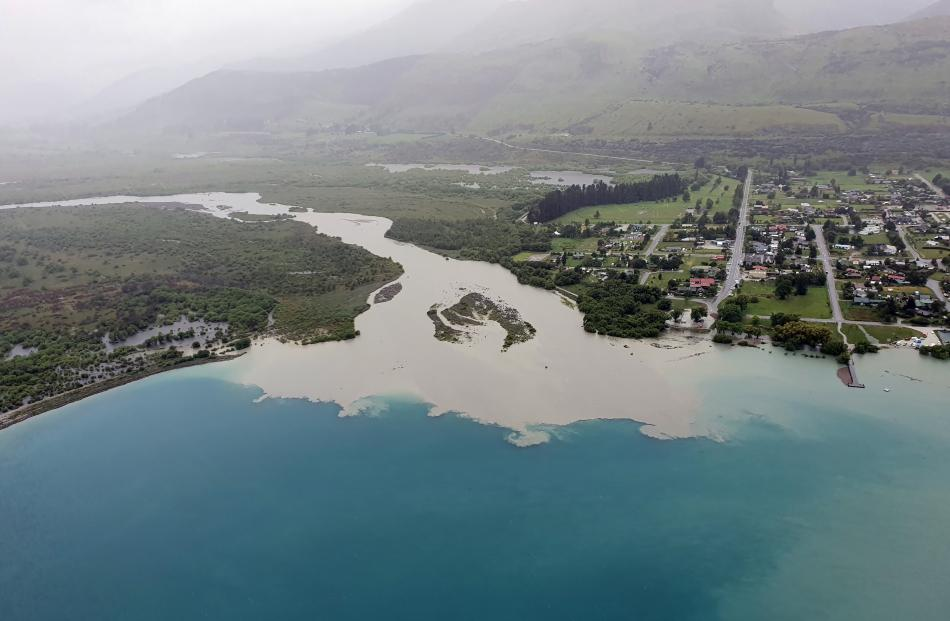 Silt pours from the Dart River into Lake Wakatipu at Glenorchy. Photo: ORC