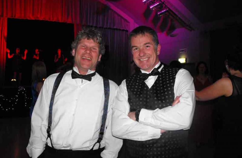 All dressed up were Rob Fiske and Keith Raymond at the Arrowtown Bachelor and Bachelorettes evening.