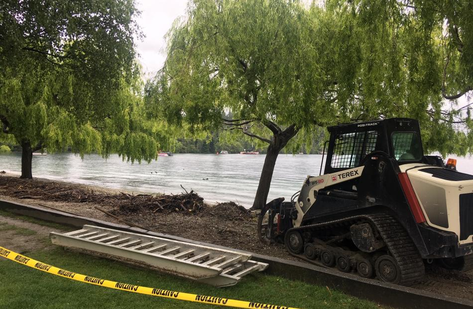 Parts of Queenstown Bay have been cordoned off as lake levels rise. Photo: Louise Scott