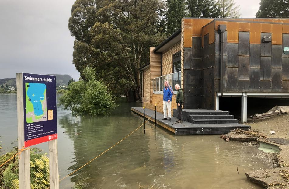 Trustee Michael Sidey and architect Alistair Madill monitor the rising lake waters at the Wanaka...