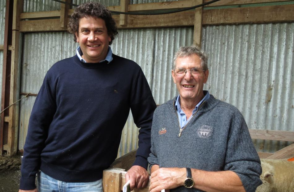 Checking out the rams are Andrew Mitchell, of Mataura (left), and Allan Paterson, of Armidale, Gimmberburn. Photos: Yvonne O'Hara