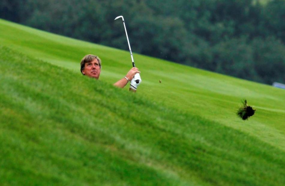 Barry Lane of England watches his shot on sixth hole at the European Seniors Tour Casa Serena...