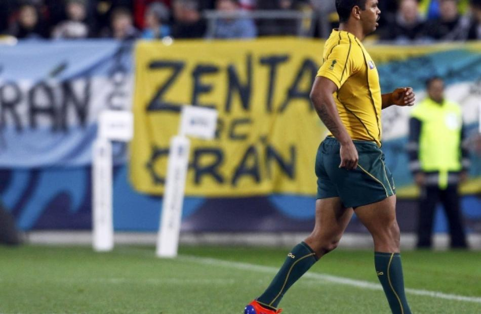 Australia Wallabies' Kurtley Beale leaves the field during the first half of their Rugby World...