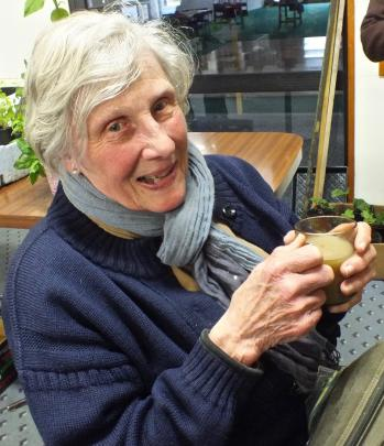 Elizabeth Whitcombe was the winner of the Dunedin Vegetable Growers' Club's Spud in a bucket...