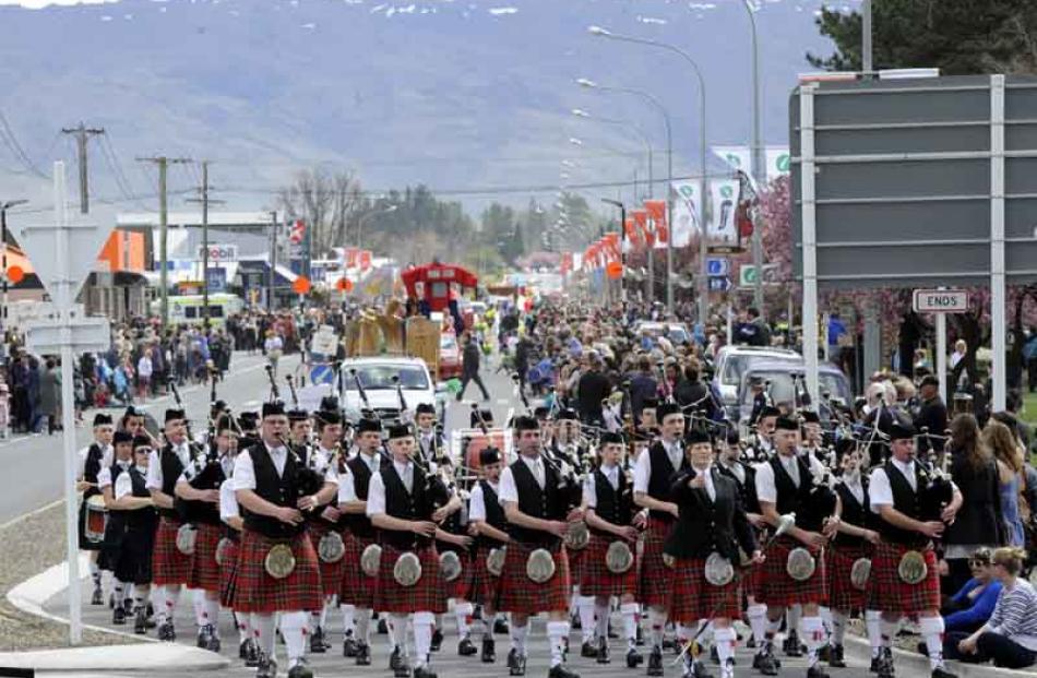 The Invercargill Licensing Trust City of Invercargill Highland Pipe Band marches down Centennial...