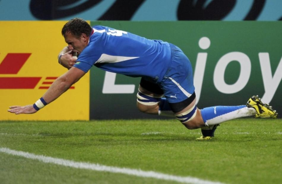 Namibia's Heinz Koll scores a try during their Rugby World Cup Pool D match against Wales at...