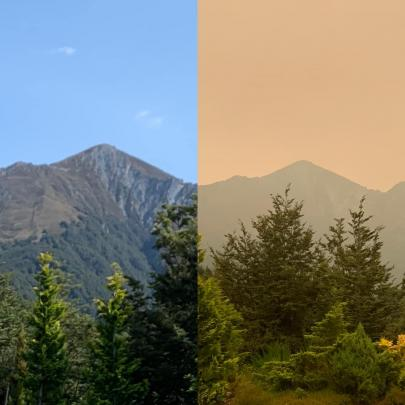 An unfiltered view of Mt Hanlon yesterday and today. Photo: Simone Flight