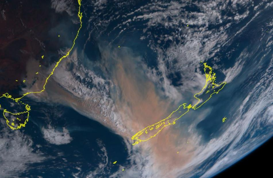 A view of the smoke drifting over from Australia taken from the Himawari 8, which is a Japanese...