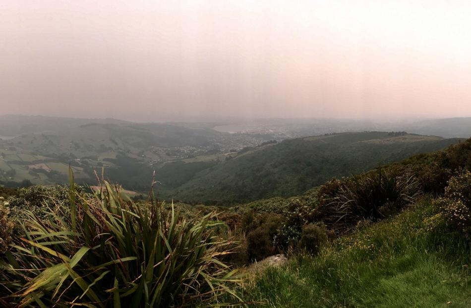 The view from Mount Cargill this morning. Photo: Gerard O'Brien