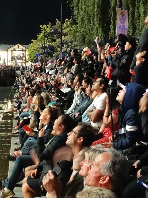 Thousands lined Queenstown's town centre lakefront to watch, and film, the midnight fireworks...