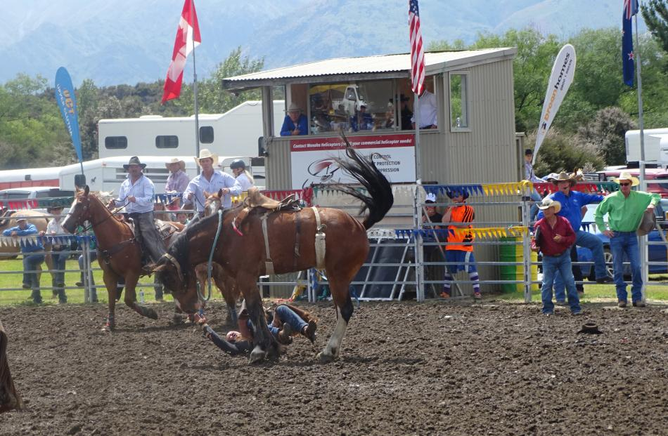 Keith Manton, of Balfour, came off second best in the second division saddle bronc.