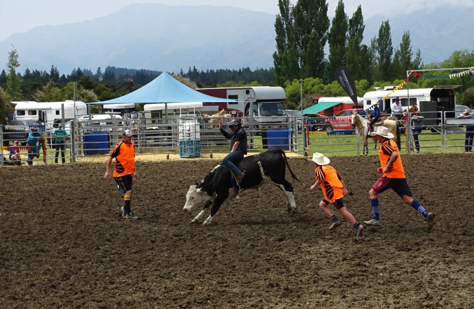 Amanda Batt (13), of Cave, beat nine other competitors to win the novice steer ride.