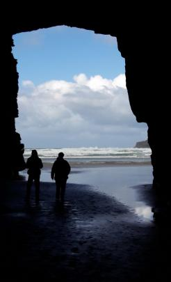 Visitors at the Cathedral Caves at Papatowai on December 28. Photo: Yvonne King