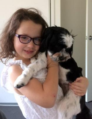 Olivia Smith (6), of Alexandra, hugs Archie while on holiday on the Gold Coast on December 7. Photo: Kathy Smith