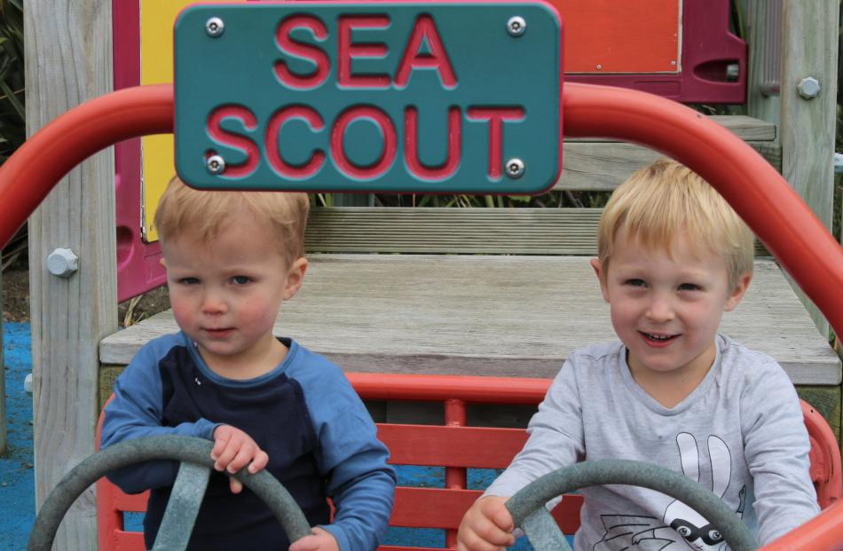 Jonty (20 months) and Louis (4) Alexander in the playground at Moeraki, on December 21. Photo: Lesley Tennent