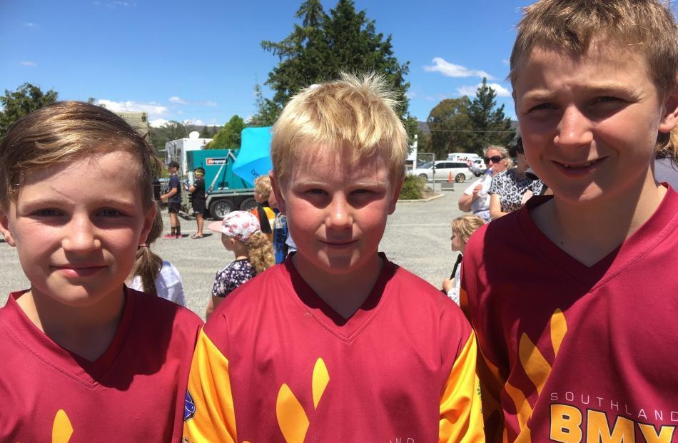 Cruz Graham-Herbert (11), Heath Wilson (11) and Hayden Hall (12), all of Invercargill.