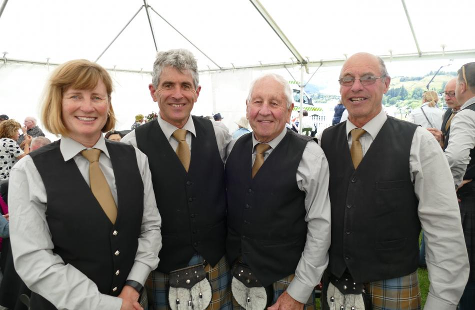 Members of the Queenstown and Southern Lakes Pipe Band, from left, Jenny Browne and John...