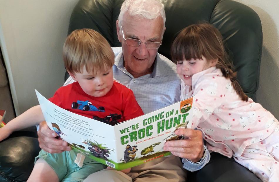 Stewart McKnight of Ranfurly entertains great grandchildren Lucas (2) and Ruby (4) Taiaroa, of...