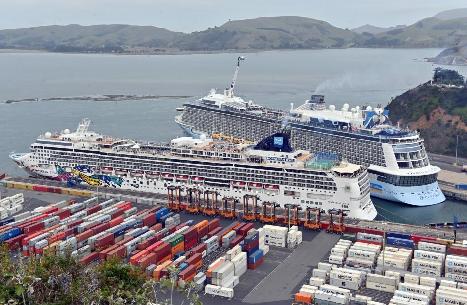 Berthed in Port Chalmers, Dunedin, yesterday are Norwegian Jewel (foreground) and Ovation of the...